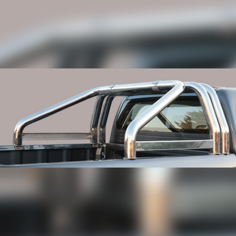 ARCEAU DE BENNE INOX DOUBLE TUBE AVEC GRAVURE SUR MAZDA BT50 DOUBLE CAB 2009-2012
