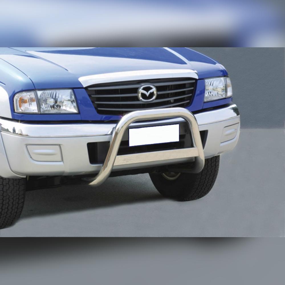 PARE-BUFFLE INOX AVEC BARRE TRANSVERSAL SUR MAZDA B2500 FREESTYLE DOUBLE CAB 2003-2006
