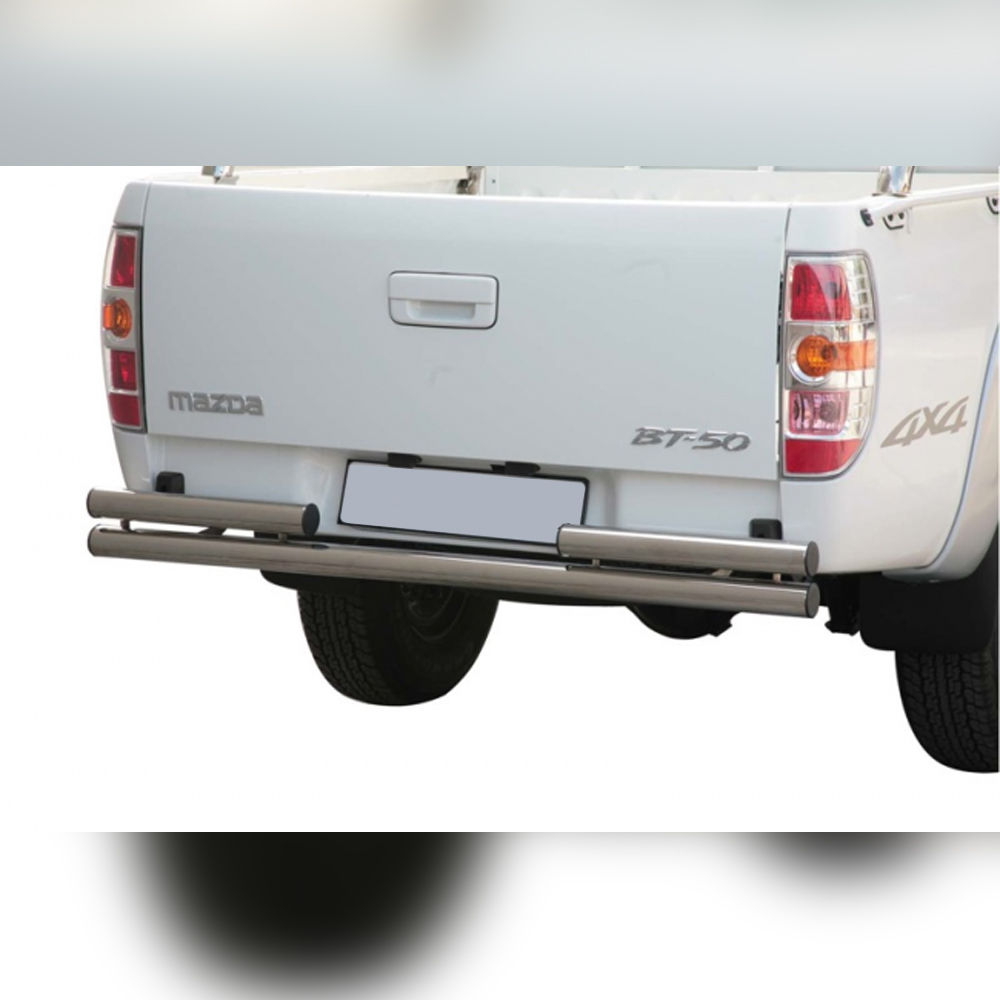 PROTECTION ARRIERE DOUBLE INOX SUR MAZDA BT50 DOUBLE CAB 2009-2012