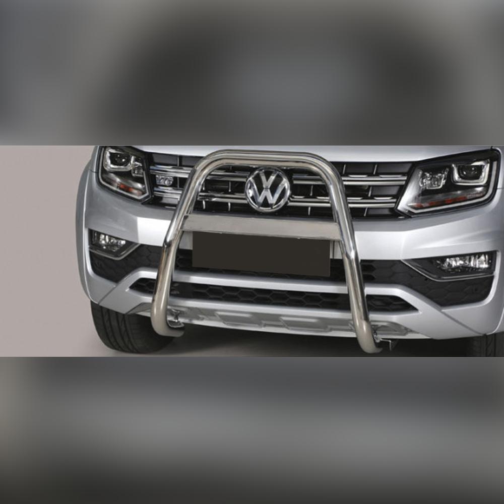 PARE-BUFFLE INOX AVEC BARRE SUR VOLKSWAGEN AMAROK V6 2016+